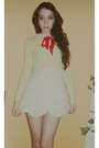 Red-bag-white-peter-pan-blouse-light-yellow-soft-jamie-scott-cardigan-red-