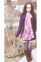 brown suede Payless boots - silver underneath dress - purple pea delias coat - l