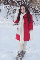 red my friend got me from korea coat - ivory stockings - camel boots - heather g