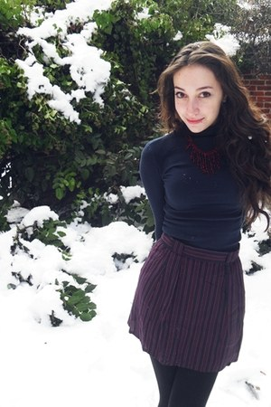 turtleneck shirt - striped red Forever 21 skirt - friends mom made it necklace