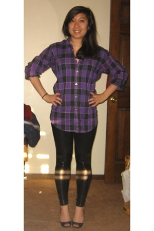 purple shirt - black pants