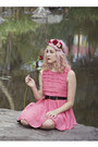 Coral-living-doll-dress-pink-floral-diy-hat-black-thrifted-belt