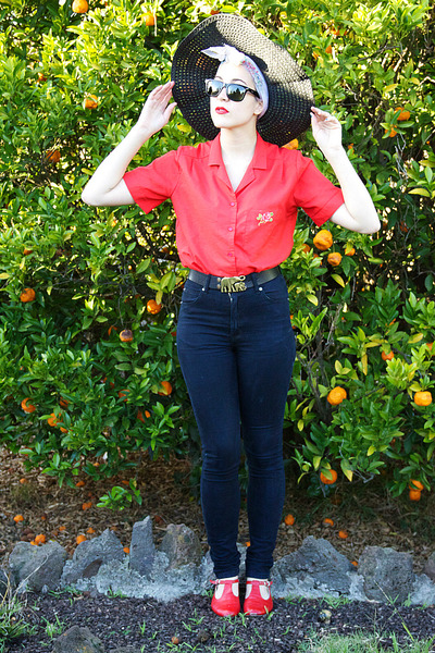 black cheap mondays jeans - black thrifted hat - red thrifted shirt