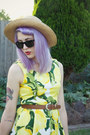 Camel-thrifted-hat-yellow-princess-highway-dress-brown-thrifted-belt