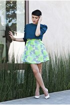 blue cropped top - green worn as a skirt dress - white pumps wedges