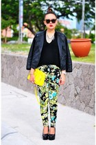 green pants - black faux leather jacket - yellow neon purse