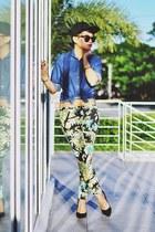 black snapback hat - blue Wrangler shirt - green floral print pants