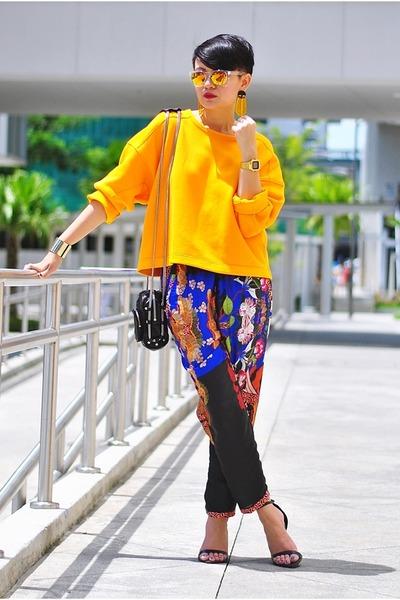 orange sweater - black mini brenda Alexander Wang bag