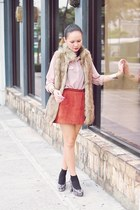tan fur WAGW vest - brick red suede skirt