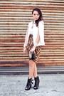 Black-mesh-buckled-miista-boots-ivory-the-ramp-cape-orange-satin-tulip-skirt