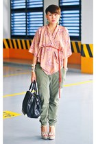 kimono top - bag - courtesy of CMG Philippines heels - army Topshop pants