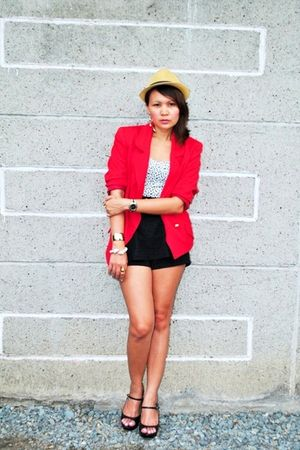 red blazer - black shorts - Street Beat Boutique - black Zara