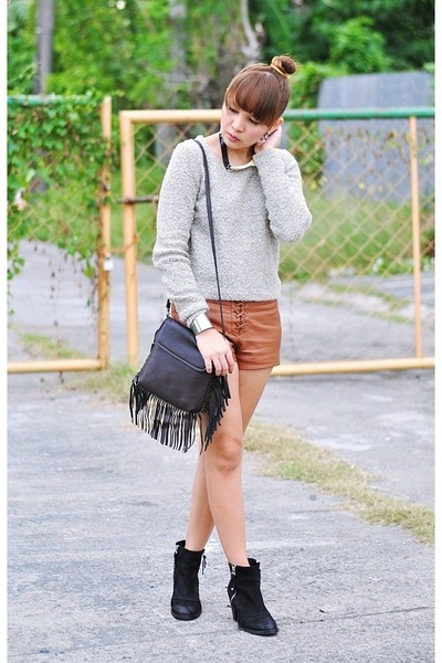 faux leather shorts - ambush Topshop boots
