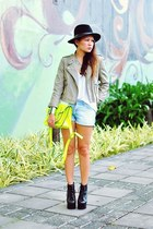 yellow Honeybadger bag - black lita Jeffrey Campbell boots - black f21 hat