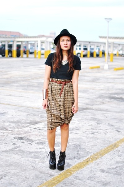 black boots - black hat - black shirt - olive green skirt