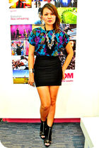 The Spotted top - black Topshop skirt - black prp shoes