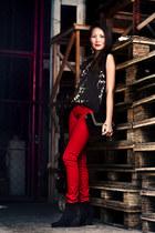 black lace up Mango boots - black suede Mango purse