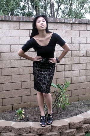 black banana republic skirt - black American Apparel shirt - DSW dress - H&M jac