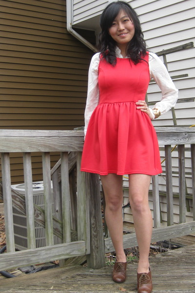 red scuba H&M dress - ivory gold accents Forever 21 blouse