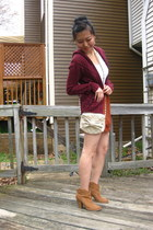 burnt orange scalloped Forever 21 skirt - tan Forever 21 boots