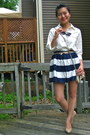 Navy-striped-forever-21-skirt-off-white-cross-body-bershka-bag