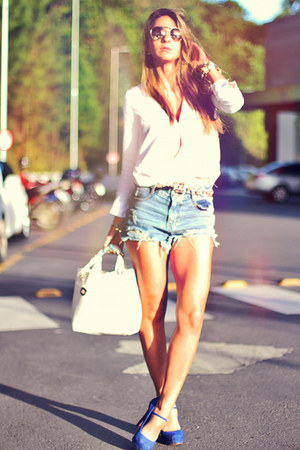 white Sheinside shirt - sky blue denim Sheinside shorts - blue Schutz heels