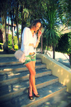 olive green camo Nasty Gal shorts - nude feathers asos bag