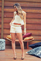 cream Moikana top - off white Moikana shorts - gold Schutz heels