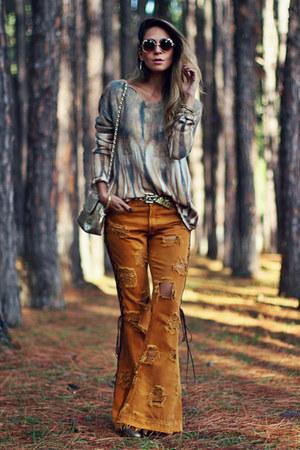 mustard boho Moikana pants - cream boho Moikana blouse
