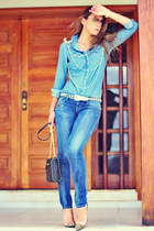 sky blue denim Levis shirt - Levis jeans - brooch romwe earrings