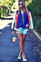 ruby red OASAP jacket - navy chifon La Ví shirt - gold acrylic clutch Choies bag