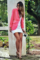 bubble gum For It blazer - white For It dress - mustard Schutz heels