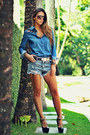 Sky-blue-studded-sheinside-shorts-sky-blue-denim-sheinside-blouse