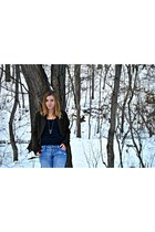 blue light washed Old Navy jeans - black New Yorker boots - navy Zara sweater