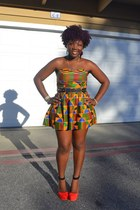 mustard spiked belt asos belt - carrot orange ankara dress homemade dress