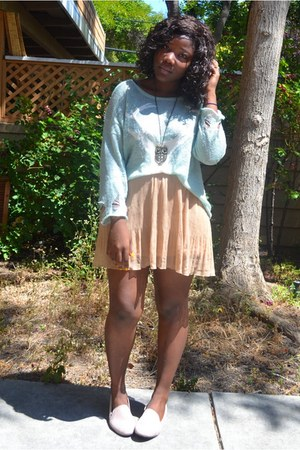 light blue romwe sweater - camel Forever 21 skirt