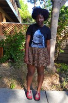 bronze leopard prints H&M skirt - brick red creepers GoJane shoes