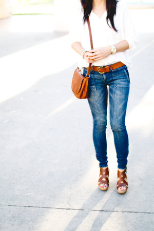 navy madewell jeans - burnt orange Brandy & Melville bag