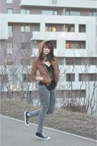 brown Bershka jacket - black Converse shoes - grey H&M jeans