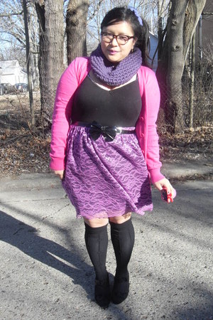 purple DIY skirt - hot pink hello kitty Forever 21 cardigan