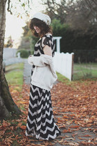 black modcloth dress - brown Blowfish boots - ivory the north face hat