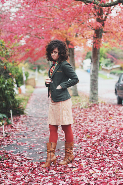 brown modcloth boots - army green modcloth blazer - burnt orange Target tights