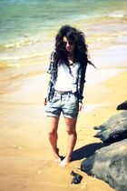 silver Forever 21 shorts - black Pac Sun shirt - white DIY top