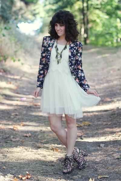 white TJ Maxx dress - black modcloth blazer - black Blowfish heels