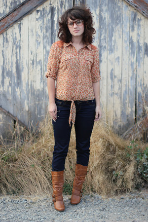 orange Marshalls top - brown modcloth boots - navy Marshalls jeans