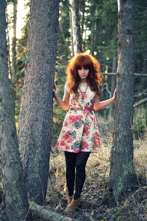 black modcloth tights - brown kensiegirl boots - pink modcloth dress