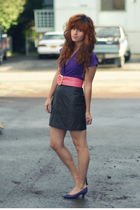black thrifted skirt - purple vintage shoes - pink vintage belt - purple America