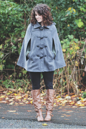 gray Ruche cape - brown Blowfish boots - army green modcloth blazer