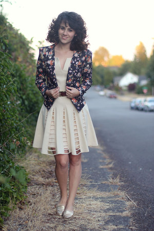 ivory modcloth dress - black modcloth blazer - gold thrifted flats