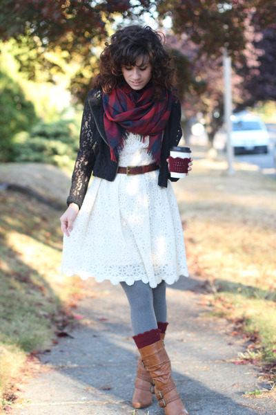 black Lulus jacket - brown modcloth boots - white Forever 21 dress